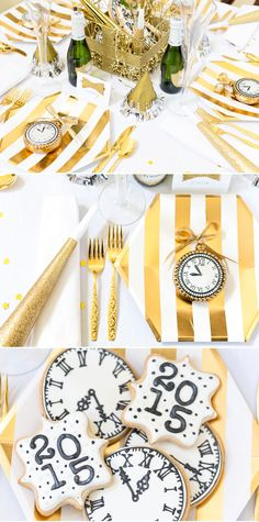 New Years Eve Tablescape idea and party favor ideas New Years Decorations, Christmas Party Decorations, Holiday Themes, Festival Decorations, New Years Eve Food, New Years Eve Party, New Year Table, New Year's Eve Celebrations, Nye Party