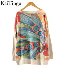 New Autumn Winter Fashion Women Long Batwing Sleeve Knitted Print Warm Sweater Loose Blouse Jumper Pullover Knitwear Tops