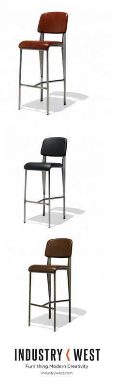 Just added! The Prouve Bar Stool in Leather. We've had a long time love affair with our steel and wood mid century inspired designs, but we can never say no to leather! A rebirth of our ever popular Prouve Standard Bar Stool, a nod to the iconographic French modernist Jean Prouve, now features richly supple leather upholstery available in black, chestnut and sienna on a classic gunmetal steel frame.