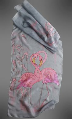 Hand painted silk scarf. Flamingo silk scarf. Pink and grey scarf. Bird scarf. Designer scarf. Made to order. 18x69inches (175 X45 cm) It will take me about 10 days to make this scarf for you. It is made of 100% pure silk in a non-smoking environment. I used professional dyes and steam to fix the colors. So this scarf will serve you many years without fading. The scarf is as light as a feather and drapes beautifully around your neck and shoulders. You can wear it as a wrap with your eveni...