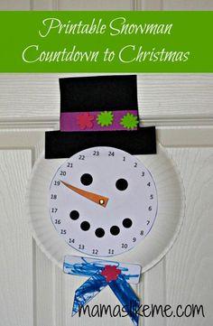 Free Printable Snowman Countdown to Christmas