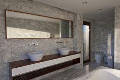 Image 17 of 17 from gallery of House Ef / Fritz + Fritz Arquitectos. Photograph by Fritz + Fritz Arquitectos Bathroom Wall Decor, Bathroom Interior, Bathroom Ideas, Modern Marble Bathroom, Marble Bathrooms, Modern Bathrooms, Floor Design, House Design, Design Homes
