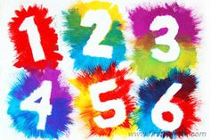 Exploding Numbers craft - cut out construction paper into words, stick on paper using masking tape, paint
