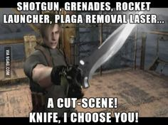 Complain about cut-scene pistols all you like. It's got nothing on Resident Evil 4. Find Funny stuff to Pin here: http://associate.graymafia.com/?p=69386