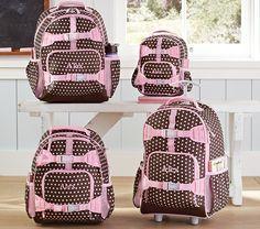 Mackenzie Chocolate Dot Backpacks | Pottery Barn Kids (preschool ready)