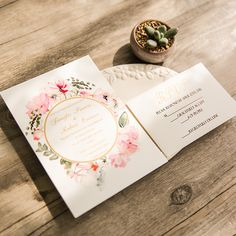 romantic boho floral gold foil stamped wedding invitations EWFI018