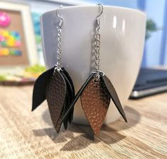 Leather Earrings Various Leaf Sizes 12pk Flash Bang Silver DIY