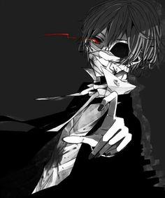 Anime boy, black hair, suit, bandages, red eyes, sunken eye, blood, monster; Anime Guys
