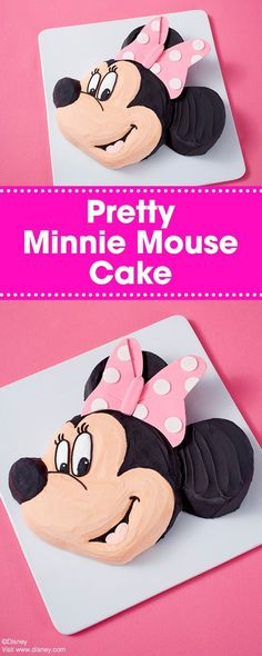 Learn how you can make this Pretty Disney Minnie Mouse cake! Great for your little one's Minnie-themed party, this character cake is also topped with Minnie's signature bow. Use a spatula to ice this cake, saving you time on decorating and piping. Want to make a Mickey cake, too? Just leave off the bow!