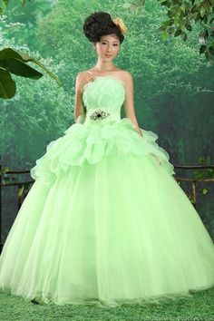 Beautiful Beading Strapless Empire Ball Gown Green Quinceanera Dress