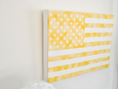 Gallery Wrapped FADED YELLOW American Flag  by AmbitoArtandDesign, $38.50