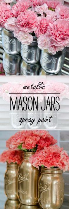 DIY Mason Jar Vases - Metallic Spray Paint Mason Jar Vases - Best Vase Projects and Ideas for Mason Jars - Painted, Wedding, Hanging Flowers, Centerpiece, Rustic Burlap, Ribbon and Twine http://diyjoy.com/diy-mason-jar-vases