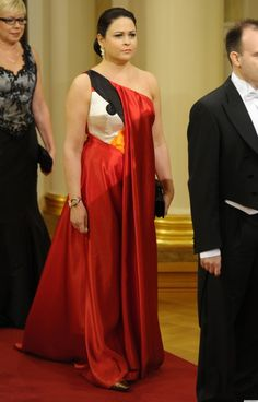 The wife of a Rovio exec wears an Angry Birds dress @ a Finnish Palace.