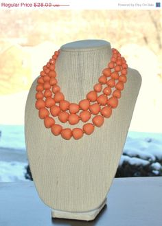 Statement Necklace, coral peach necklace, stranded necklace, bib necklace, Chunky necklace, beadwork.