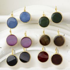Gold Stone Earrings Assorted 6 Colors © Twos Company