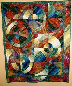 many patterns with Drunkard's Path, explored and taught Strips and Curves by Louisa L. The above quilt was a product of that class. Circle Quilt Patterns, Circle Quilts, Quilt Blocks, Batik Quilts, Scrappy Quilts, Quilting Projects, Quilting Designs, Quilting Patterns, Quilting Ideas