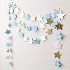 Excited to share the latest addition to my #etsy shop: Blue Gold Stars Garland Twinkle Twinkle Little Star Baby Shower Decorations Boy First Birthday Love You to the Moon and Back Nursery Garland
