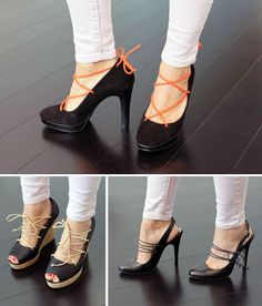 Add laces to heels   30 Style Hacks