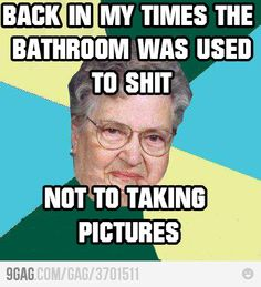 I agree...why the heck do you want a picture of yourself in the bathroom you do your duty in?!