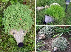 Creative hedgehog 1 Hedgehog PET bottle planters in planter 2 decoration 2  with planter PET Bottle Hedgehog garden