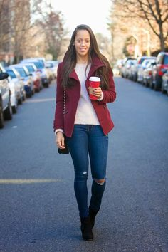 This cranberry coat = reason #1265 I love autumn     ...even though it's almost winter!