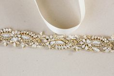 Gold and opal rhinestone enrusted bridal belt - Style R23