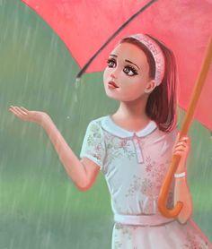 Rainy day by on DeviantArt Rain Art, Under The Rain, Cute Paintings, Under My Umbrella, Anime Fantasy, Princess Zelda, Disney Princess, Art Girl, Illustration Art