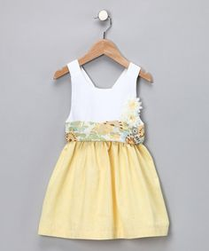 Take a look at this Yellow & White Isabella Dress	 by Baby Sophisticates on #zulily today!