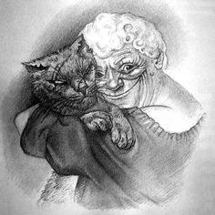 Nanny Ogg and Greebo by Paul Kidby