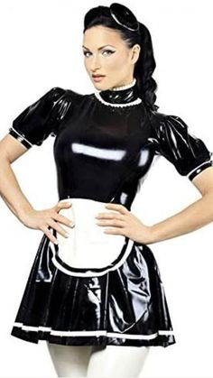 Maid Outfit, Maid Dress, Peplum Dress, Cowgirl Costume, Leather Mini Dress, Leather Pants, Goth Beauty, Sexy Latex, Latex Fashion