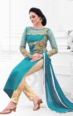 Show details for Alluring Turquoise Traditional Salwar Kameez