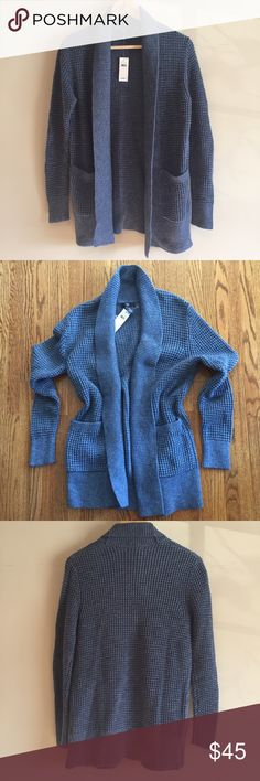 gap • waffle stitch open-front cardigan NWT • factory • color: blue heather • shawl collar • open-stitch detailing • long sleeves • open front • front patch pockets • ribbed trim throughout • 100% cotton • no trades • GH780016 GAP Sweaters Cardigans