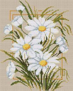 Daisies on Linen - Cross Stitc |