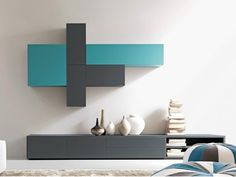Sectional wall-mounted lacquered storage wall CITYLIFE 45 by Doimo CityLine