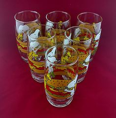 Peanuts Cartoon Snoopy Woodstock Summertime 12 Ounce Drinking Glasses Set of 6
