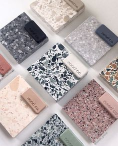 The possibilities. A lovely arrangement by with good friends and our Nood Co sample pack collection. Bathroom Inspiration, Interior Design Inspiration, Bathroom Interior Design, Interior Decorating, Terrazzo Tile, Material Board, Tile Design, Cheap Home Decor, Decor Styles
