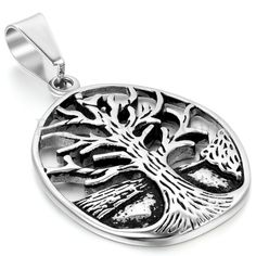 """Vintage Stainless Steel Men Women Tree of Life Pendant W/ 22"""" Chain Necklace #Unbranded #Pendant"""