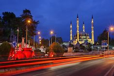 """""""Selimiye Mosque - Edirne, Turkey"""" by Hercules Milas   Redbubble #Turkey #Turkish #Edirne #city #Selimiye #mosque #Hadrianople #Hadrianoupolis #Adrianoupoli #mosques #minaret #minarets #four #architecture #architectural #architect #Mimar #Sinan #Ottoman #era #cities #European #light #trails #lighttrails #night #nights #blue #hour #evening #twilight #atmosphere #atmospheric #color #colorful #traffic #travel #destinations #sights #sightseeing #attractions Rustic Bathroom Lighting, Foyer Lighting, Neon Lighting, Exterior Light Fixtures, Exterior Lighting, Still Of The Night, Kitchen Cupboard Designs, Light Trails, Mid Century Lighting"""