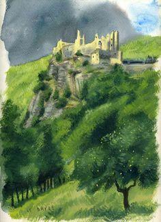 """Les ruines du château d'Usson. Peinture à la gouache sur papier de Guillaume Le Baube .Illustration pour un livre sur les Pyrénées aux éditions """"Éclairs de plume"""". Ce """"Carnets de voyages"""", destiné aux enfants et aux adolescents aborde différents thèmes . Pour illustrer cet ouvrage, j'ai parcouru les Pyrénées, pour reconnaître les lieux et les sujets traités. Ce livre de 110 pages comporte 251 illustrations, gouaches et aquarelles.  Il est disponible en me contactant personnellement."""