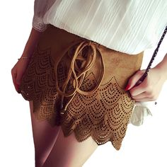 Europe Fashion Women Shorts Faux Suede Retro Lace Up Hollow Out Zipper Closure Sexy Pants Brown