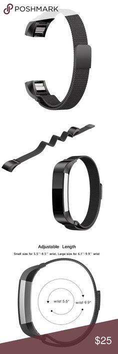 SALE TODAY ONLY! FITBIT ALTA BAND BLACK MESH This beautiful black metal mesh replacement band turns your fit bit into a beautiful stylish and chic  bracelet.   This is the band only! It has a very strong magnetic closure and is adjustable! Please see photos! Please see my for my 40+ different styles and colors of fit bit bands! Accessories