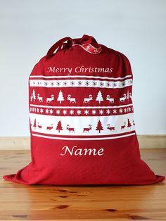 Personalised Santa Sacks / Christmas Gift Bag - ideal for a teenager or adult