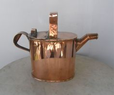 COPPER WATERING CAN Four (4) Pints 2 Handles Copper Pivets Great Patina Plant Water Can 20th Century Vintage English Garden Item Mid 1900's by OnceUpnTym on Etsy