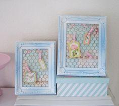 * 2er Memoboard im Rahmen helblau + Kaninchendraht handmade Tilda Papier Shabby