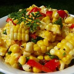 Corn Off the Cob Salad Recipe | Allrecipes.com (corn, butter or olive oil, lime juice, red bell pepper, sun-dried tomatoes, salt & pepper, parsley, garlic)