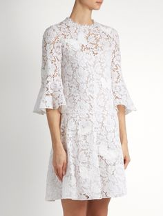 Valentino Fluted-sleeve lace dress