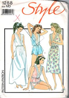 1980s Style 1288 Misses Lingerie Nightdress Nightgown Camisole French Knickers Teddy Wide Leg Panties womens vintage sewing pattern by mbchills