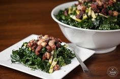 Candied Hazelnut Kale Apple Bacon Salad