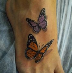 3-D Butterfly Tattoo  3-D tattoo | foot tattoo | nature tattoo | tattoo ideas | tattoo inspiration | purple butterfly