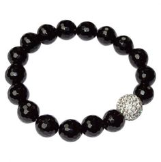 Beaded Bracelet with Cubic Zirconia Ball